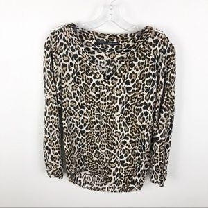 Zara Blouse Leopard Print Shirt Long Sleeve V Neck